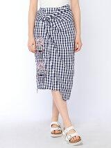 スワン刺繍巻きスカート