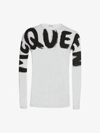 Alexander McQueen マックイーン グラフィティ キモノスリーブ Tシャツ アレキサンダー・マックイーン カットソー Tシャツ ホワイト【送料無料】