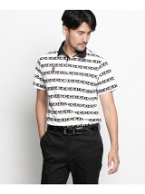 ADロゴボーダープリント半袖ポロシャツ