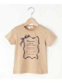 3can4on 【100-150cm】リボンプリントTシャツ サンカンシオン カットソー Tシャツ ベージュ ネイビー
