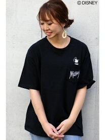 VENCE share style ミッキーinポケットBIGTシャツ ヴァンス エクスチェンジ カットソー Tシャツ ブラック ホワイト ベージュ