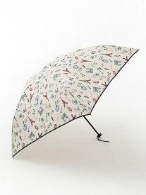 Afternoon Tea パリ柄晴雨兼用軽量折りたたみ傘雨傘 アフタヌーンティー・リビング ファッショングッズ 日傘/折りたたみ傘 ホワイト ネイビー