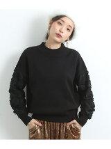【WEB限定】袖レース刺繍ハイネックプルオーバー