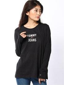 【SALE/40%OFF】TOMMY HILFIGER W)TOMMY HILFIGER(トミーヒルフィガー) TJW SQUARE LOGO LONGSLEEVE トミーヒルフィガー カットソー Tシャツ ブラック ホワイト
