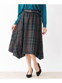 【SALE/40%OFF】SHOO・LA・RUE 合皮ベルト付イレギュラーヘムスカート シューラルー スカート スカートその他 ブラック ブラウン ネイビー