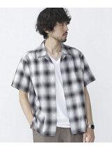 //開襟オンブレーチェックシャツ S/S