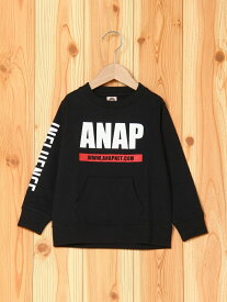 【SALE/31%OFF】ANAP KIDS ANAP KIDS/ロゴプリントトレーナー アナップ カットソー キッズカットソー ブラック ピンク ホワイト