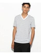【WEB限定】吸水速乾ボーダーVネックTシャツ