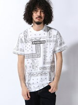 (M)/モノトーン総柄半袖Tシャツ
