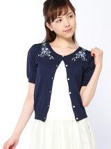 花刺繍5分袖カーディガン