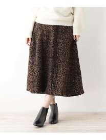 【SALE/50%OFF】grove レオパードAラインスカート グローブ スカート スカートその他 ブラウン ベージュ