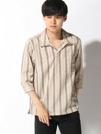 【SALE/36%OFF】CORISCO CORISCO/(M)ブロード7ブストライプキーネックシャツ サンコーバザール シャツ/ブラウス 七分袖シャツ ベージュ ブラック グリーン ホワイト ネイビー レッド