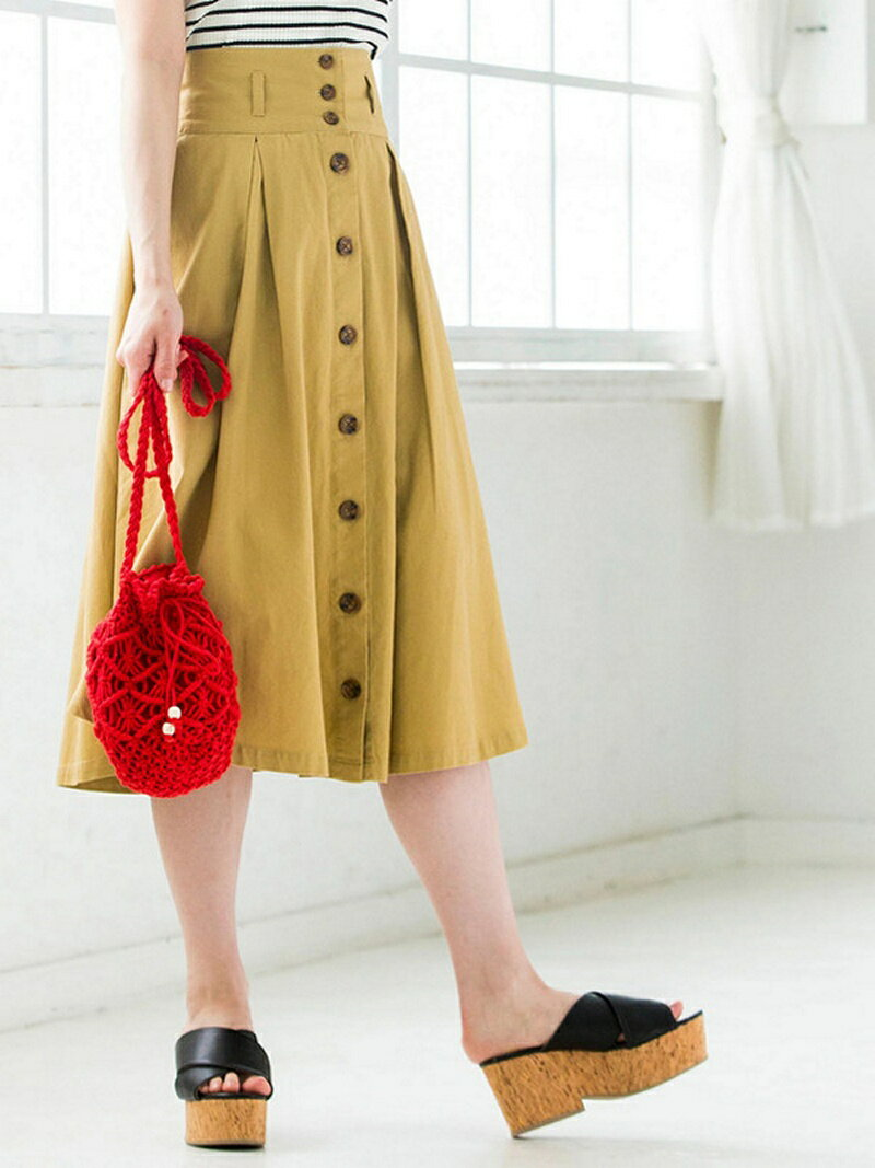 BROWNY STANDARD BROWNY STANDARD/(L)チノ前ボタンタックミディスカート ウィゴー スカート