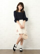 フルール刺繍ミニスカート