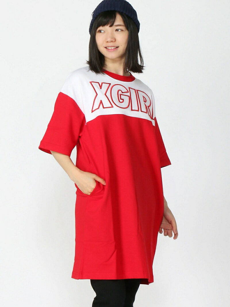 X-girl BI-COLOR S/S DRESS/ワンピ/Tシャツワンピ エックスガール ワンピース【送料無料】