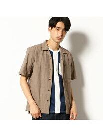 COMME CA COMMUNE オープンカラーシャツ コムサイズム シャツ/ブラウス 半袖シャツ ブラウン グレー【送料無料】