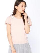 お花刺繍袖フレアニット