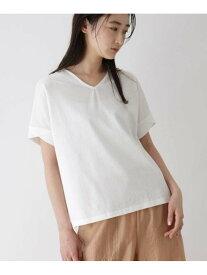 【SALE/50%OFF】OZOC ◆[洗える]コットン半袖カットソー オゾック カットソー Tシャツ ホワイト シルバー ブラック グリーン ベージュ ブラウン