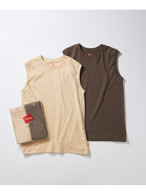 ADAM ET ROPE' 【Hanes for BIOTOP】Sleeveless T-Shirts/color アダムエロペ カットソー カットソーその他 ブラウン ピンク【送料無料】
