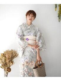 utatane 高級変わり織り浴衣3点セット ミントグリーンにお花 ウタタネ ビジネス/フォーマル 着物/浴衣 グリーン【送料無料】