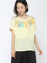 衿ぐりフェザープリントタックTシャツ