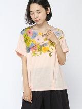 衿ぐりフラワープリントタックTシャツ