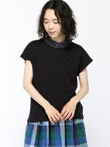 ドットフリルネックフレンチスリーブTシャツ