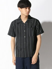 【SALE/36%OFF】CORISCO CORISCO/(M)ポリトロハンソデオープンストライプシャツ サンコーバザール シャツ/ブラウス 半袖シャツ ブラック ベージュ レッド