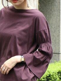 【SALE/20%OFF】coen シャーリングフレアスリーブプルオーバー コーエン カットソー Tシャツ レッド ブラック ブラウン