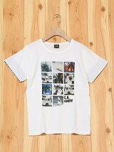 L.COPECK/(K)エルコベック 袖チェックグラフィックTシャツ