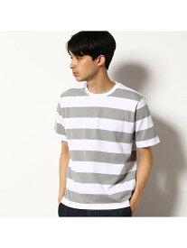 COMME CA COMMUNE ワイドボーダー Tシャツ コムサイズム カットソー Tシャツ グレー ネイビー ブラウン