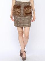 フェイクファーポケット付きタイトスカート