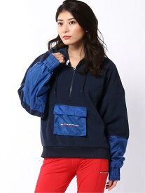【SALE/70%OFF】TOMMY SPORT (W)TOMMY HILFIGER(トミーヒルフィガー) BLOCKED POLAR MIX HOODIE トミーヒルフィガー カットソー パーカー ネイビー レッド【送料無料】