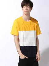 【BROWNY】(M)ニットパネル切替Tシャツ