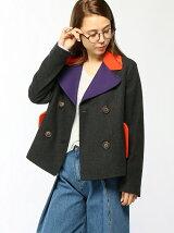 (W)部分袖配色ピーコート