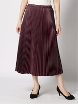 (W)METALLIC PLEATED MIDI SKIRT BEET ROOT