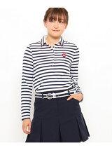 30THナンバー入りボーダー長袖ポロシャツ