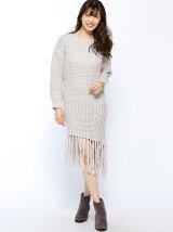 フリンジニットドレス