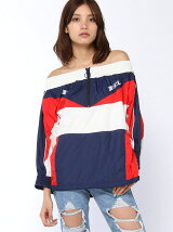 OFF SHOULDER WINDBREAKER PULLOVER