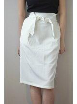 ストライプ織りウエストリボンスカート