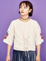 袖刺繍コルセットプルオーバー