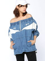 DENIM OFF SHOULDER WINDBREAKER PULLOVER