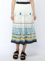 かもめパネルプリントロングスカート