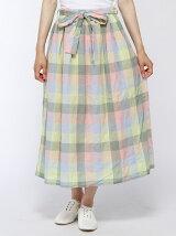 ブロックチェックリボンベルトロングスカート