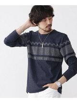 ジャガードパネルパイルTシャツ LS