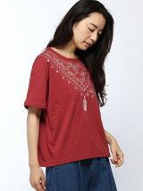 アフガンストール刺繍ターンバックドルマンTシャツ
