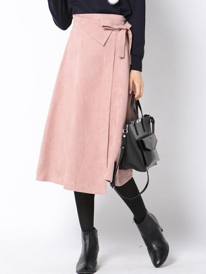 QUEENS COURT スウェード調ラップフレアスカート クイーンズコート スカート【送料無料】