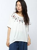 ネイティブ刺繍タックドルマンTシャツ