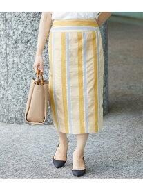 【SALE/63%OFF】ROPE' 【セットアップ対応】マルチストライプタイトスカート ロペ スカート スカートその他 イエロー ピンク【送料無料】