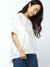 花モチーフ刺繍裾タックドルマンTシャツ
